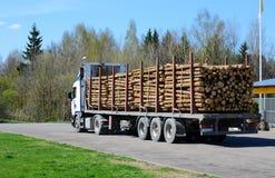 收获木材 有日志的卡车 免版税库存照片