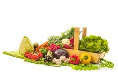 收获篮子新鲜蔬菜 免版税库存图片