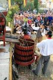 收获葡萄:葡萄收获的节日在chusclan vil的 免版税图库摄影