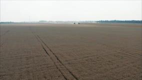 收获麦子在夏天 运作在领域的两台红色收割机 在领域的两台收割机收集麦子 影视素材