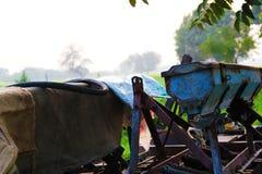 收获麦田工作的收割机机器 免版税库存照片