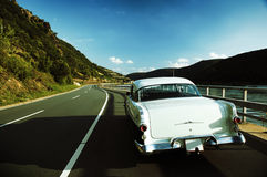 一辆经典汽车的后方 库存照片