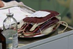收集一次性工具箱注入的血液 图库摄影