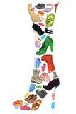收集不同的查出的鞋子 库存照片