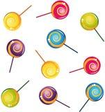 收集五颜六色的可口棒棒糖 免版税库存照片