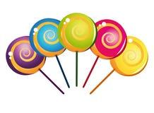 收集五颜六色的可口棒棒糖 免版税图库摄影