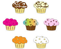 收集五颜六色的杯形蛋糕 免版税库存照片