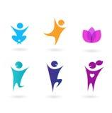收集人力图标炫耀瑜伽 免版税库存照片