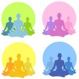 收集位置坐的瑜伽 免版税库存照片
