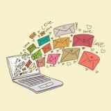 9份收集典雅的信函爱模式言情无缝的主题 免版税库存照片