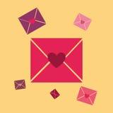 9份收集典雅的信函爱模式言情无缝的主题 库存照片