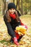 收集划分为的叶子妇女年轻人的浅黑&# 库存照片