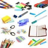 收集办公室学校用品 免版税库存图片