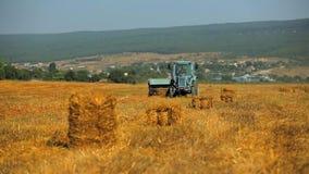 收集在亩茬地的农用拖拉机秸杆 股票录像