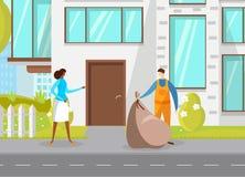 收集在塑料袋的倒垃圾工人城市垃圾 向量例证