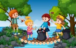 收集垃圾的孩子在河旁边 向量例证