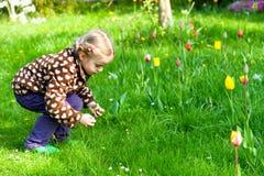 收集复活节彩蛋的逗人喜爱的小女孩 库存图片