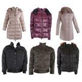 收集夹克类型多种冬天 库存图片