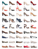 收集女性穿上鞋子多种类型 免版税库存照片