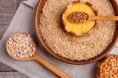 收集干麦片 荞麦,米,豌豆,燕麦粥,麦子 免版税图库摄影