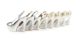 收集水晶复了平台鞋子 免版税库存图片