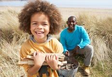收集父亲木柴儿子的海滩 免版税图库摄影