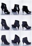 收集穿上鞋子妇女 免版税图库摄影
