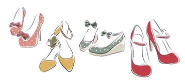 收集穿上鞋子妇女 免版税库存照片