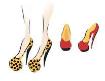 收集穿上鞋子妇女 免版税库存图片