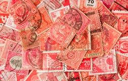 收集老邮费红色印花税 库存照片