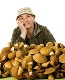 收集者日常蘑菇 免版税库存照片