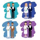 收集耦合婚礼 微笑的新娘和新郎愉快的对导航例证 库存图片