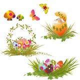 收集被设置的复活节彩蛋 图库摄影