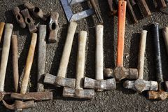 收集锤子现有量手工工具仿造工具 库存照片
