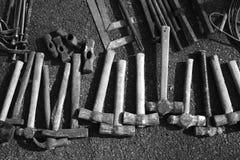 收集锤子现有量手工工具仿造工具 库存图片