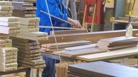 收集门的过程从木空白,土气内门的生产 影视素材
