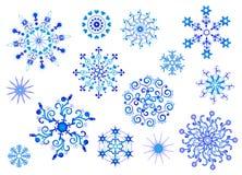 收集雪花向量冬天 图库摄影