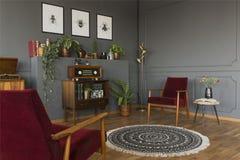 收音在葡萄酒灰色客厅内部的内阁与地毯a 库存照片