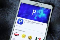 收音机和音乐的潘多拉app 免版税库存图片