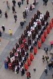 改变乘`世界领巾天`的机会卫兵名誉领巾军团,萨格勒布 库存照片