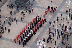 改变乘`世界领巾天`的机会卫兵名誉领巾军团,萨格勒布 图库摄影