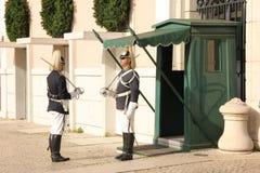 改变卫兵。总统府。里斯本。葡萄牙 免版税库存照片
