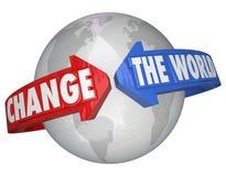 改变帮助解决问题的世界箭头慈善募捐人 库存照片