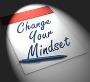 改变您的关注形势笔记本显示阳或正面在 库存图片