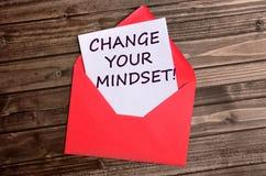 改变您的在纸的心态词 库存图片