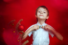 改正蝶形领结的白色衬衣的男孩在圣诞树装饰了 库存照片