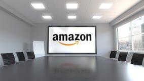 改良 在屏幕上的com商标在会议室 社论3D动画 库存例证