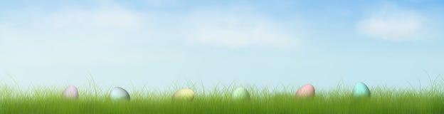 0 8更改颜色复活节容易的蛋草隐藏的以图例解释者 库存图片