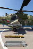 攻击军用直升机MI-35M导弹发射装置和武器  免版税库存图片