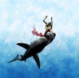 攻击巨大下颌鲨鱼白色 皇族释放例证